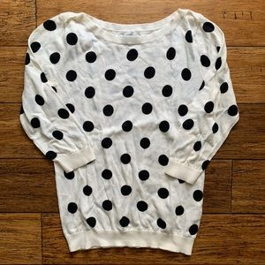 White and Black Polka Dot 3/4 Sleeve Sweater